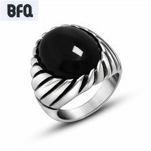 BFQ Retro red black rings for men vintage high quality stainless steel rings punk men jewelry aneis feminino anillo bague