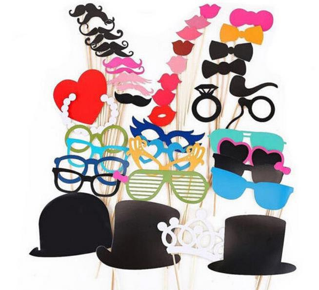 44x Photo Booth Props Mustache Lip On A Stick Wedding Christmas Party