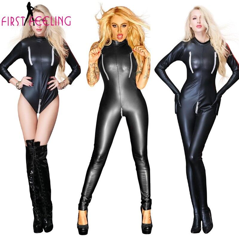 Discreet 3 Stijl Vrouwelijke Sexy Zwart Lederen Bondage Teddy Bodysuit Dubbele Rits Open Buste Kruis Jumpsuit Erotische Gothic Clubwear Catsuit