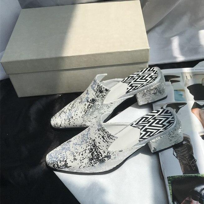 Feminino Pecora De Da Med 2018 Di Scarpe Pantofole Pelle Donna Quadrati As Geometrica Tacchi Sapato Mujer Zapatos Pic Stampa Hq8a8