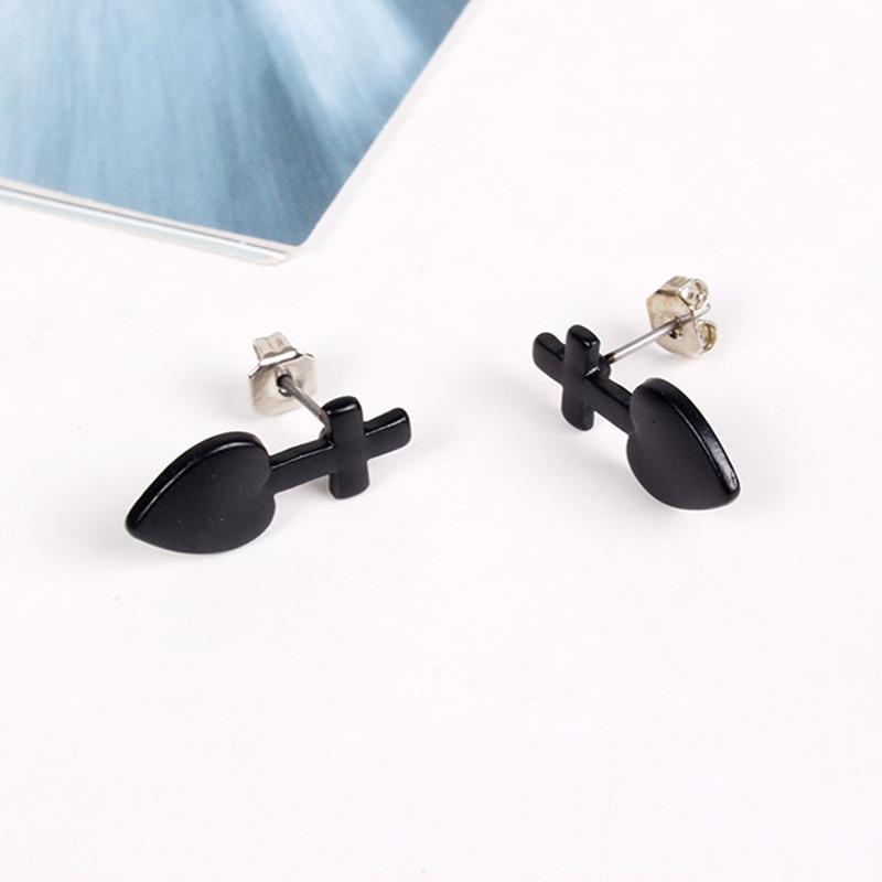 Accessories Harajuku cross peach heart stud dark black earring