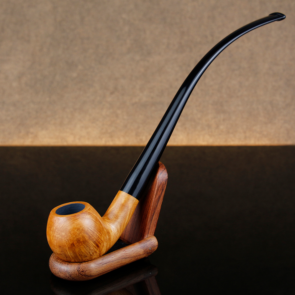 Classic Long Briar Wood Pipe 9mm Filter Smoking Tobacco Pipe Free Tools Set Bent Smoking Pipe