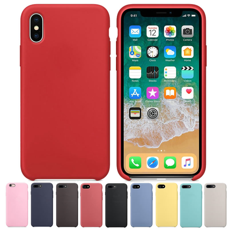Original Have LOGO Official Silicone Cas for iPhone X 8 7 6 6s Plus Phone Cover Silicon Cases For iPhone 6 6s With Retail Box