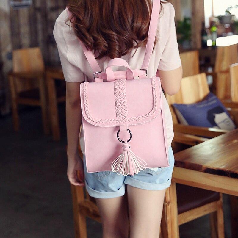 2017 Preppy Style Women Backpack Teenage Girls Pu Leather Backpack Female SchoolBag Machila Femanina Tassel Backpacks Travel Bag (11)