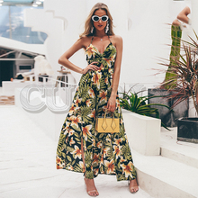 CUERLY Sexy v neck maxi long dress Women vintage high waist backless summer dress Floral print sundress party dress vestidos cuerly sexy see through burgundy lace dress women summer high waist v neck dress elegant maxi long dress vestidos