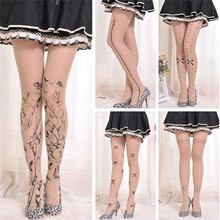 6ac48d1f9 4 Styles Women Tattoo Tights Lolita Fancy Hosiery Cute Patterns Printed Pantyhose  Ladies Gifts hot sale