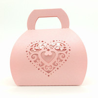 50pcs Set Heart Model Candy Box Party Wedding Hollow Carriage Baby Shower Favors Gifts Candy Boxes