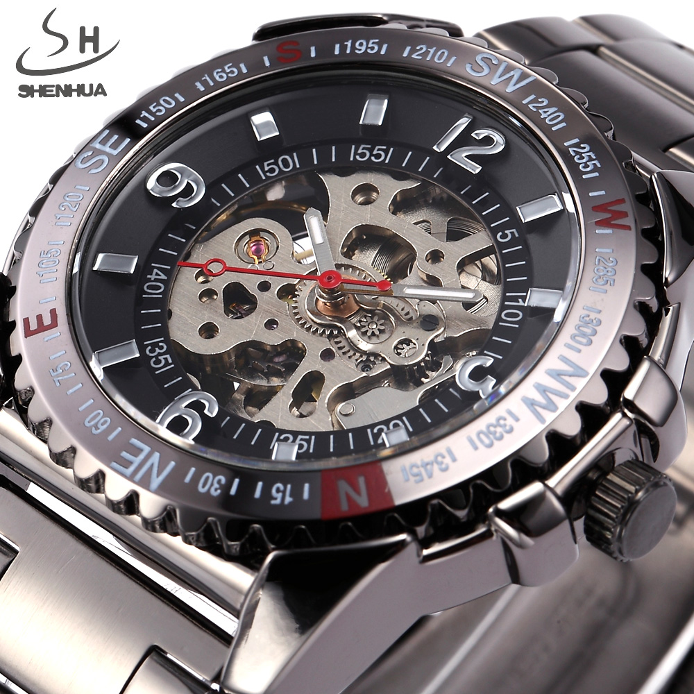 SHENHUA Brand Sport Style Men Skeleton Mechanical Watch Sport Watches Military Automatic Watch Full Steel Relogio Masculino недорго, оригинальная цена