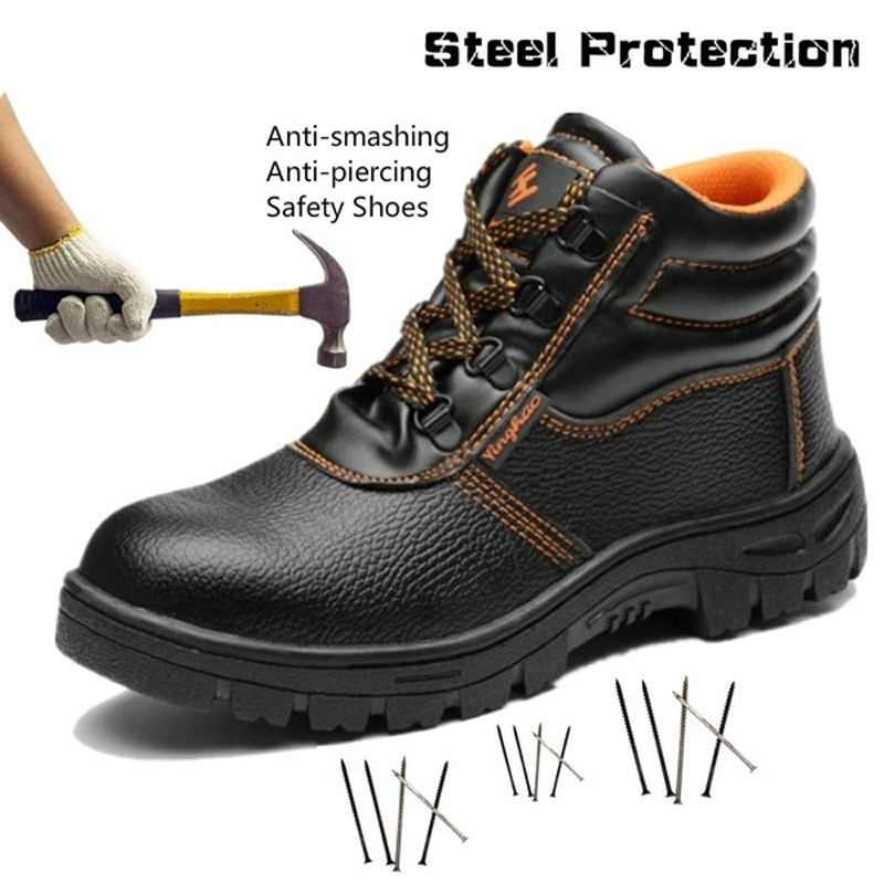 High-steel steel toe cap safety shoes smash-proof puncture waterproof anti-slip site safety boots image
