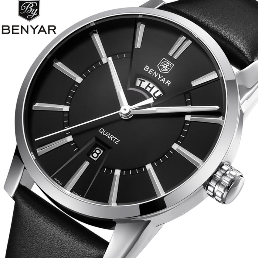 купить BENYAR Watches Men Business Quartz Watches Fashion Analog Top Luxury Brand Male Leather Wristwatch Waterproof Clock Montre Homme по цене 1668.65 рублей