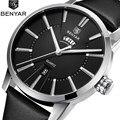BENYAR relojes de cuarzo de negocios para hombre, relojes de pulsera de cuero de marca de lujo analógicos de moda, reloj impermeable Montre Homme