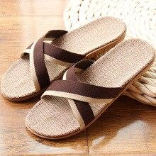 Hot New Summer Men Flax Flip Flop Canvas Linen Non-Slip Designer Flat Sandals Home Slippers Man Fashion Slides Casual Straw Shoe