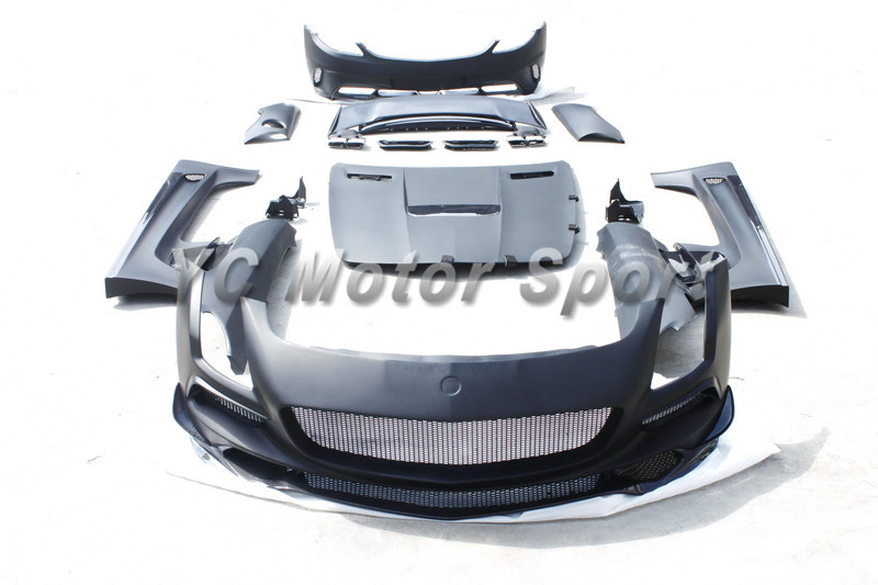 FRP Fiber Glass+Carbon Fiber Black Series Style Body Kit Fit For MB R197 SLS-Class Hood Bumper Fender Side Skirt Spoiler