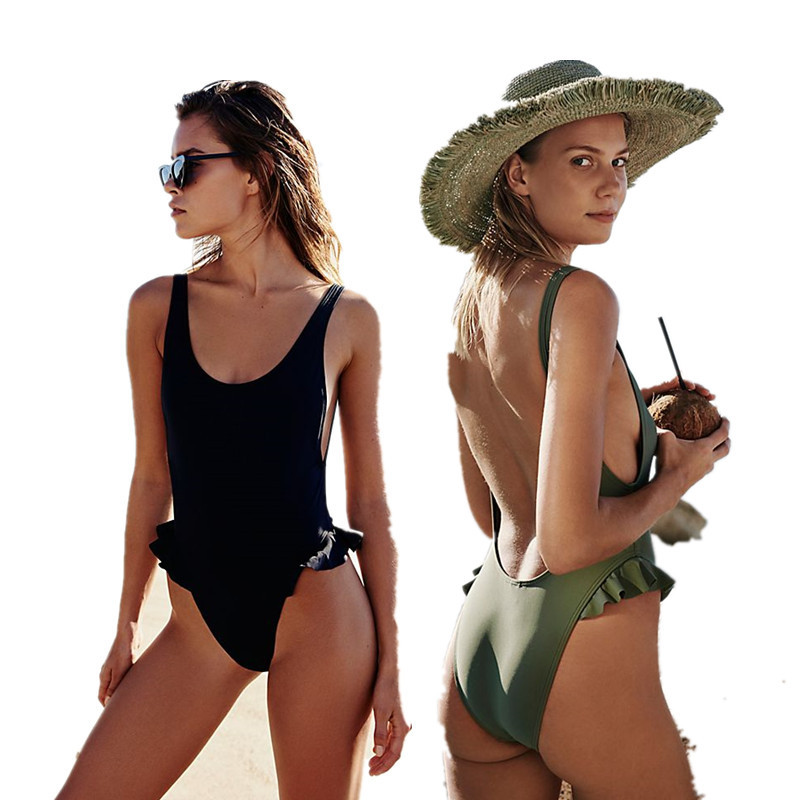 NATURE ARMOUR swimsuit women 2018 new sexy backless swimsuit solid Ruffled one-piece swimsuit beach swimming pool swimsuit sexy women s round neck ruffled solid color top