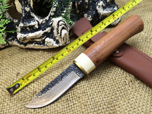 Hand Bones Knife Copper Head Handmade Forged Collection Hunting Straight Knife Wood Handle Tactical Knife With Leather Sheath