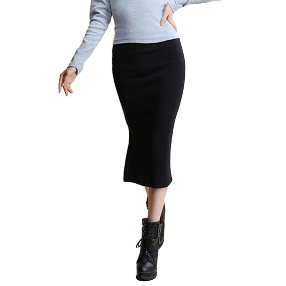 Danjeaner 2017 Autumn Winter Women Slim Split Long Skirts High Waist Knitted Cotton Pencil Skirts Super Elastic Maxi Skirts