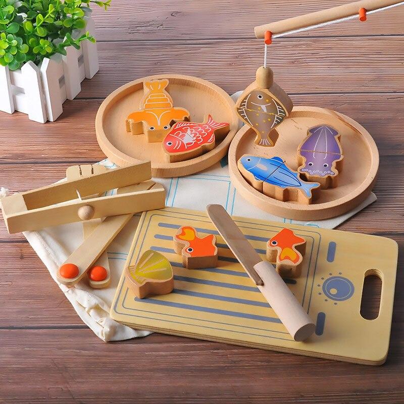 Nouveau multi-fonction Double pôle magnétique pêche couverts ensemble Parent-enfant jeu enfants jouer maison Puzzle en bois jouets famille jeu