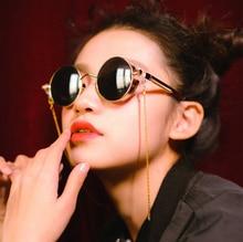 JackJad font b Fashion b font SteamPunk Rock Vintage Round Style Sunglasses Classic Gold Metal Chain