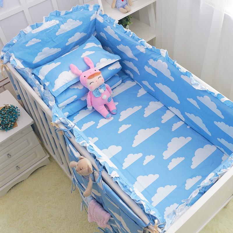 6 шт. для новорожденных постельного белья бамперы хлопок младенческой бампер для мальчиков и девочек унисекс кроватки бамперы безопасный д...