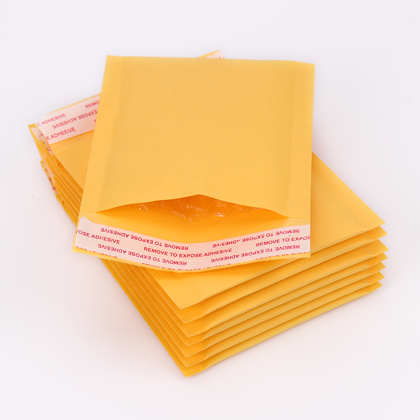 5PCS The New Yellow Kraft Bubble Mailers Padded Envelopes Shipping Bag 110*130mm Self Seal Bag School Office Supplies