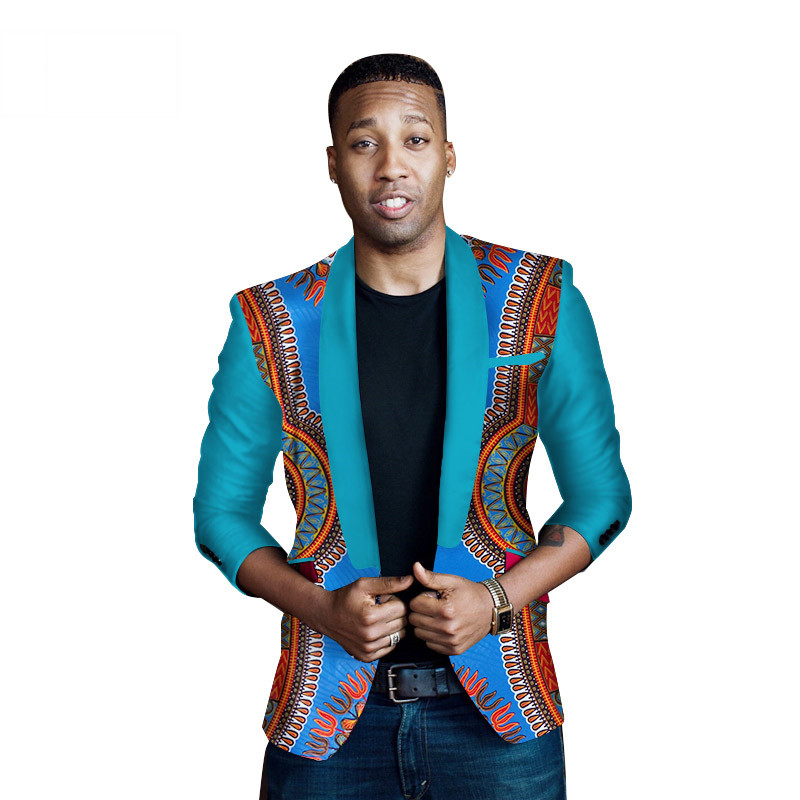 New African Clothing Dashiki Print Suit For Men Casual Jacket Coat Fashion Blazer Men Slim Elegant Plus Size WYN262