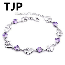 TJP Cute Purple Crystal Stones Double Heart Design Women Bracelets Jewelry Top Quality 925 Sterling Silver Girl Lady Bangles Hot