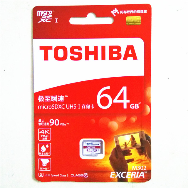 2016 TOSHIBA 64gb micro sd card class 10 SDXC U3 90MB/S 64GB Memory Card TF Card Micro SD Card UHS-1 Pass H2testw