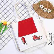 Cartoon diagonal simple creative canvas bag Korean version of womens elegant female Japanese art leisure
