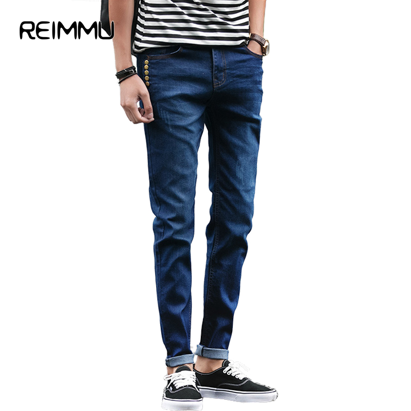 Reimmu Jeans Men Trousers New Fashion Brand-Clothing Casual Male Trousers Hot Sale High Quality Slim Fit Pants Men Jeans Male 17 shark summer new italy classic blue denim pants men slim fit brand trousers male high quality cotton fashion jeans homme 3366