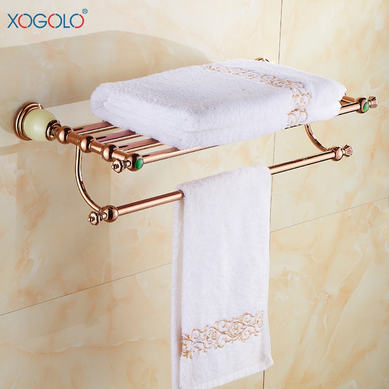 XOGOLO Romantic Antique Bathroom Towel Holder Double Rose Gold Wall Towel Rack Bath Accessories Gold Good Quality replacement lcd display capacitive touch screen digitizer assembly for lg d802 d805 g2 black
