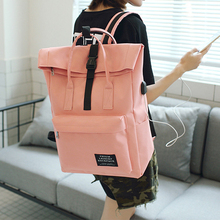 school bag Woman External USB Charging Canvas Backpack Male Mochila Escolar Couple Laptop Bag Youth Fashion Trend