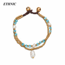 2018 Handmade Layered Simulated Pearl Charm Blue Crystal Beaded Chain Bracelets for Women Fashion Gold-Color Beads A Bracelet