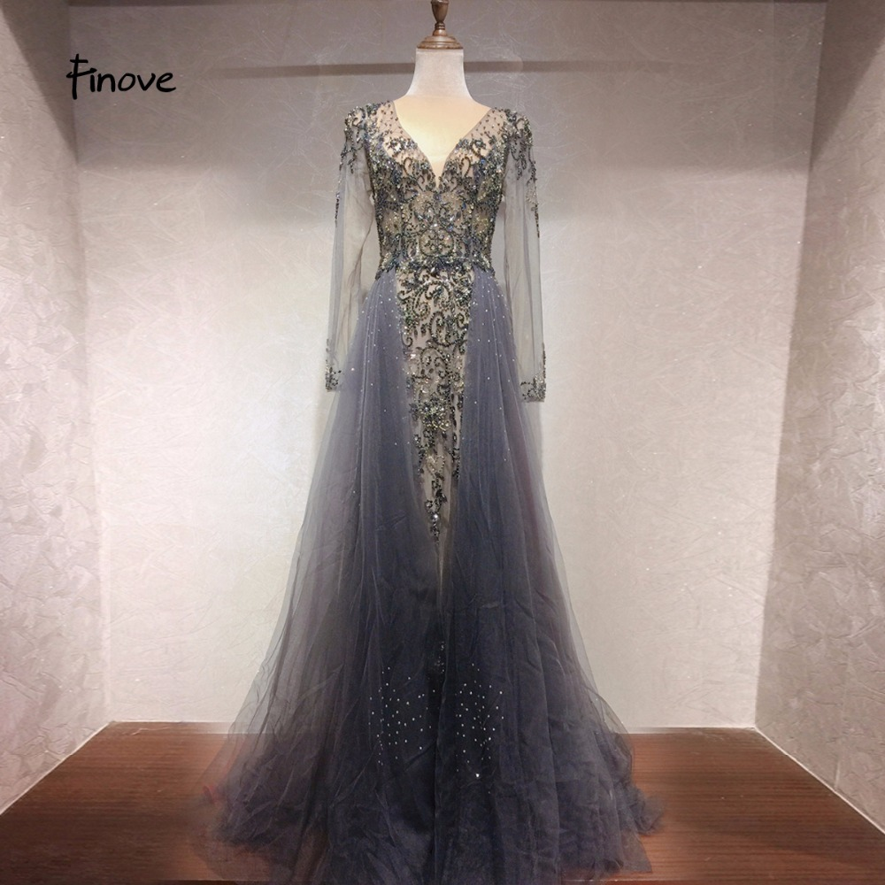 Finove Evening Dress Long 2019 Robe de soiree Sexy V Neck Empire Line Illusion Tulle Fully Beaded Floor Length Woman Dress Gowns-in Evening Dresses from Weddings & Events    1