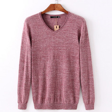 PORT&LOTUS Men Sweater Wool & Cotton Striped Pullover Brand Clothing V-Neck Print Long Sleeve Pullovers Sweaters LS9002