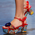 Handmade Summer Women Sandals Pom Pom Decor Platform Wedges Vintage Print Chunky Heel Ladies Gladiator Sandalias Mujer