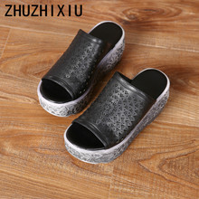 ZHUZHIXIU-Free shipping,2018 summer new handmade genuine leather women's slippers, hollow muffins bottom slippers,3 colors