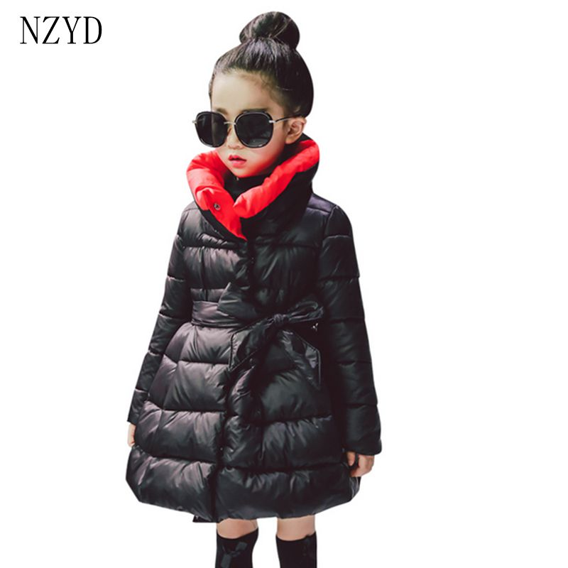 New Fashion Winter Cotton-Padded Clothes Girls Coat Han edition 2017 Atmospheric Girls Clothes Thicken Casual Kids Coat DC552