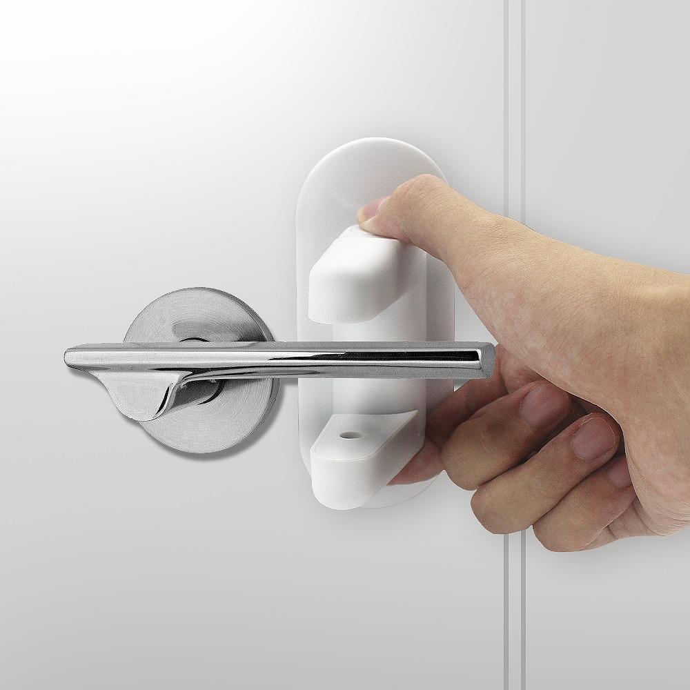 2x Door Lever Lock Kids Child Proof Safety Door Handle Lever Lock Self-Adhesive