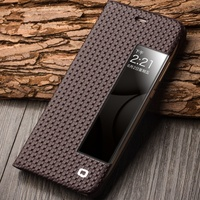 For Huawei P10 Plus Case QIALINO Gird Pattern Smart View Window Genuine Leather Cover For Huawei