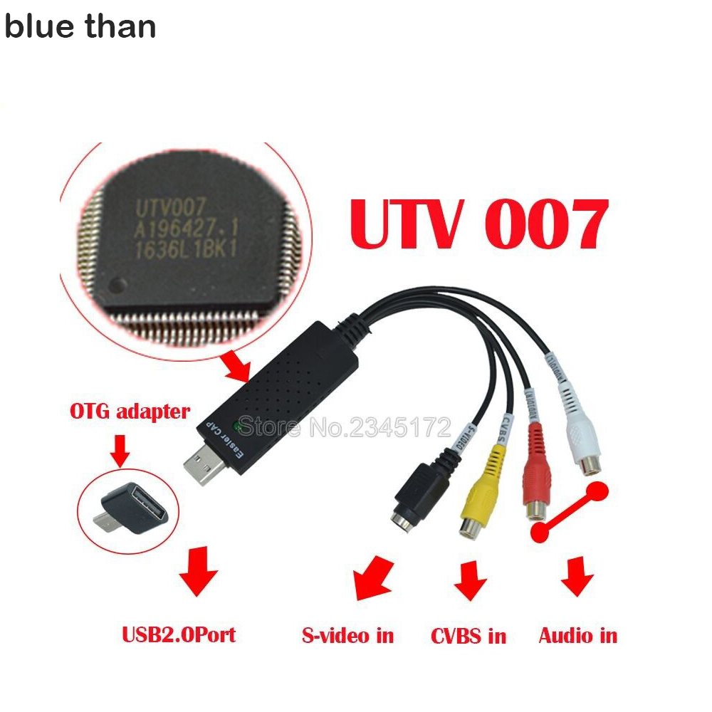 blue than USB Video Capture Adapter TV DVD VHS Captura for Computer TV Camera USB  Easiercap DC60 UTV007 support Android phone video dvr capture card usb 2 0 video adapter audio high quality tv dvd vhs audio av adapter computer cctv camera 3 chip stk1160