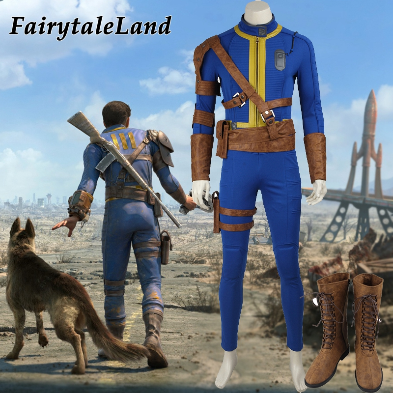 Popular game 4 Sole Survivor Nora Cosplay Costume Halloween costumes for adult Blue Vault Uniform Nate costume suit custom made