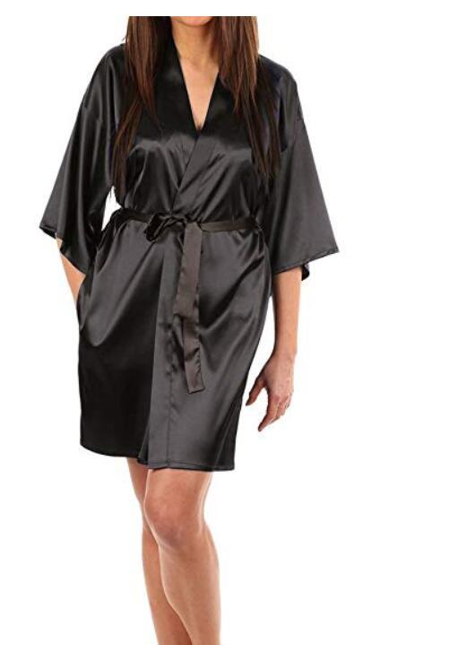 Robe Women Silk Satin Solid Kimono Robe Fashion Bath night Robe Sexy Bathrobe Large Size Bridesmaid Dressing Gown For Wome
