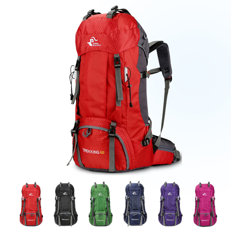 c48d49c5a661 US $26.82 57% OFF|60L Waterproof Polyester Outdoor Travel Backpack Rucksack  Sport Bag With Rain Cover Camping Hiking Trekking Backpack Mochila-in ...