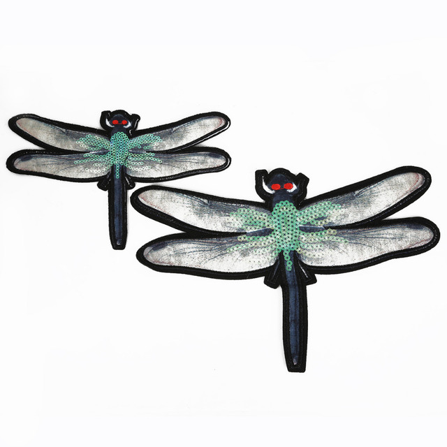 1 2Pcs DIY Clothing Accessories Dragonfly Pattern Iron On Printed Bead  Piece Embroidered Patches Fabric