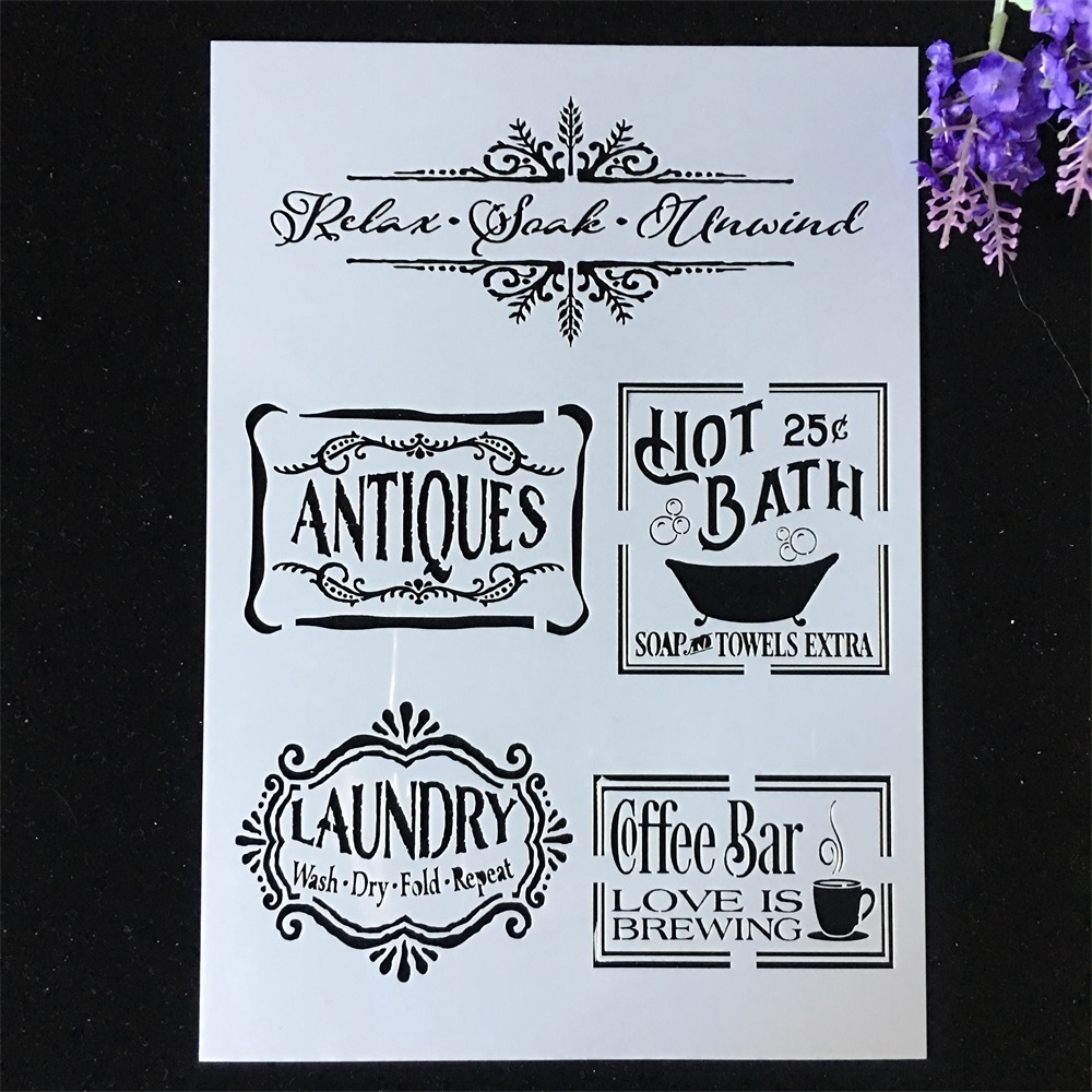 1Pcs A4 29*21cm Bath Laundry Label Tag DIY Layering Stencils Painting Scrapbook Coloring Embossing Album Decorative Template
