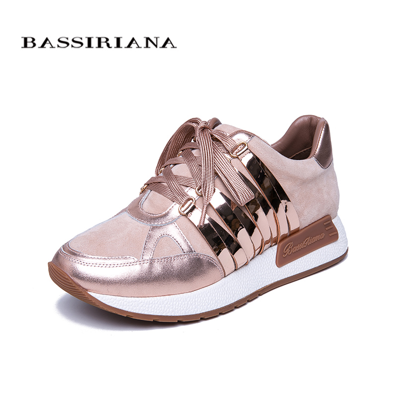 BASSIRIANA 2019 New Leather Flat Shoes Ladies Shoes Casual Shoes for Women Pink Silver Blue Size