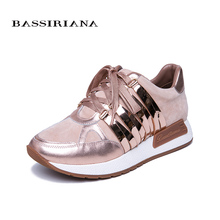 BASSIRIANA 2019 New Leather Flat Shoes Ladies Shoes Casual Shoes for Women Pink Silver Blue Size 35-40 Free Shipping free shipping italy shoes and matching bag set for women for wedding party pink pu size 38 43 no gf13 pink