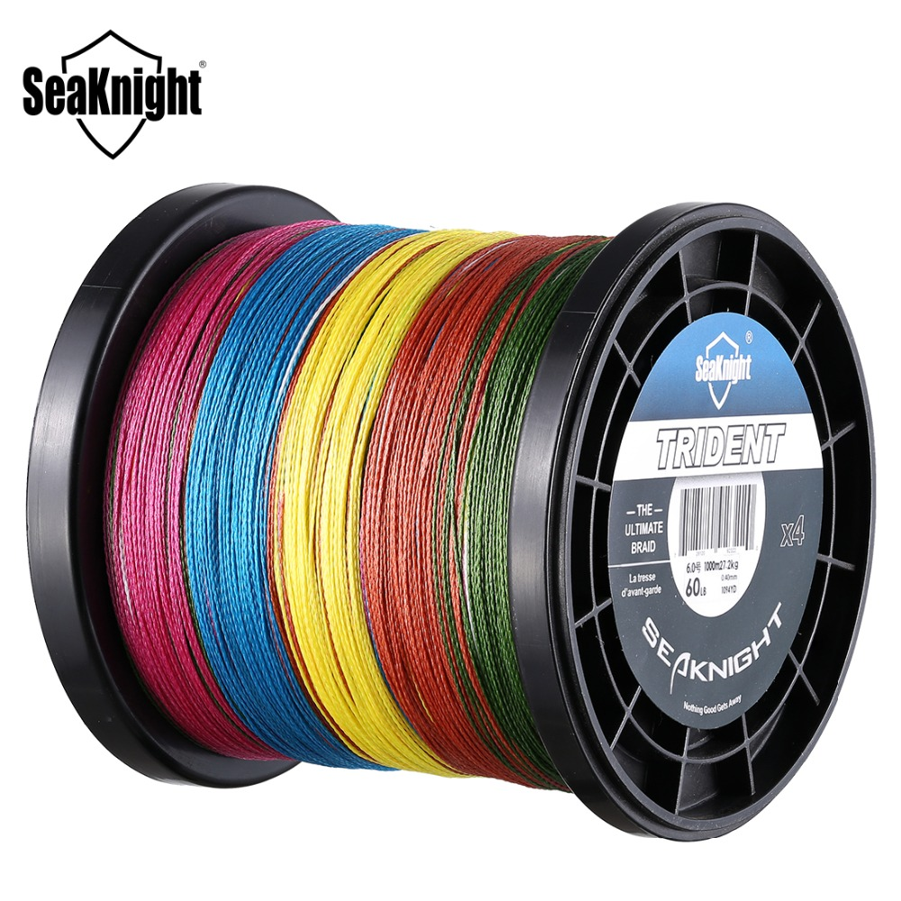 SeaKnight TRIDENT 1000M 4 Strands Multicolor Braided PE Fishing Line 6-100LB 0.08-0.60mm Super Strong Multifilament Fishing Line