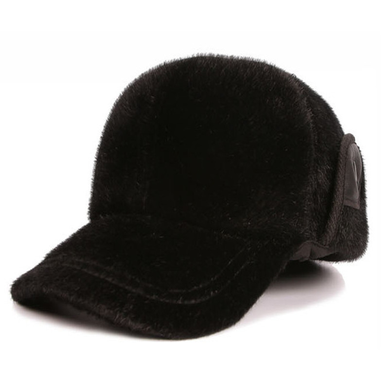 black baseball caps new winter imitation fur warm cap for men fashion solid adults hats ball hat faux leather