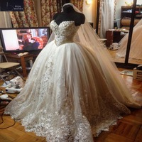Luxury Wedding Dress 2018 Ball Gown Lace Appliques Wedding Gown Sweetheart Beads Tulle Princess Wedding Dresses Plus Size